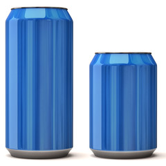 Blue blank beer can isolated on white background