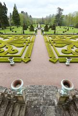 Garden viewscape of Dree castle in Curbigny, Bourgogne