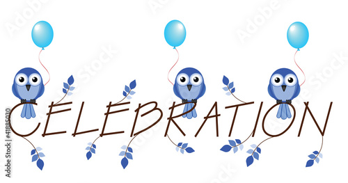 Blue celebration twig text