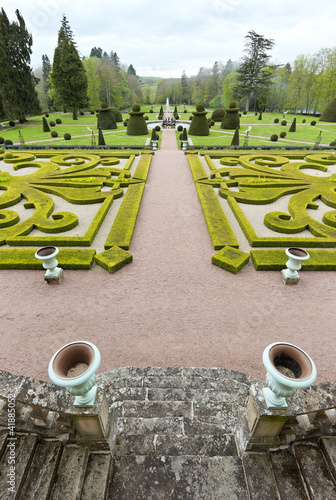 Garden viewscape of Dree castle in Curbigny, Bourgogne