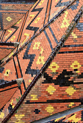 Colored roof tile of La Rochepot castle, Burgundy, France