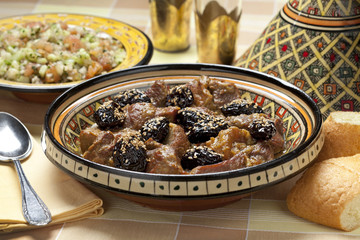 Moroccan dish with meat and plums