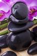 orchidea con pietre nere e bambù 3