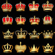 set gold  crowns on black background - 41888228