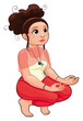 Yoga Position. Funny cartoon and vector isolated illustration.