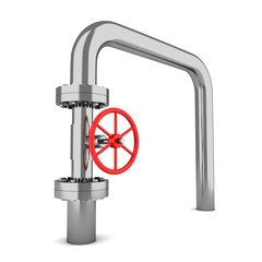 gas pipe with a red valve on white background