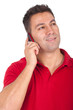 man standing and speaking at the phone