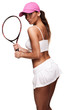 tan woman in white sportswear and tennis racquet