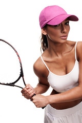 tan woman in white sportswear and tennis racquet