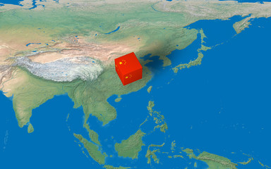 Location of China over the map