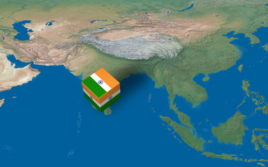Location of India over the map