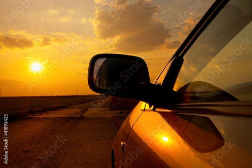Car sunset