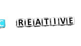 3D Creative Ideas Crossword on white background