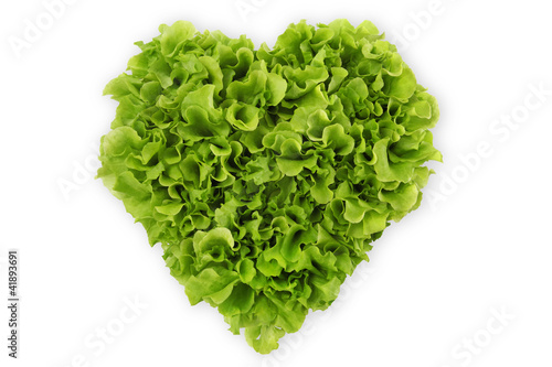 heart-shaped salad, lettuce on white background