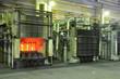 glühende Stahlträger Hochofen / steel mill factory