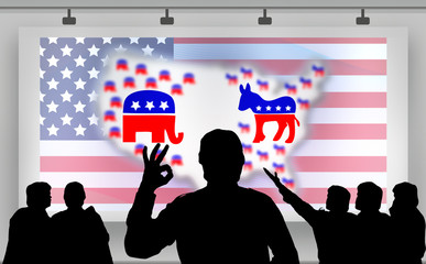 American presidential elections - silhouette crowd