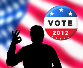 American presidential elections banner with man silhouette