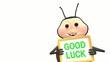 Ladybird holds good luck sign