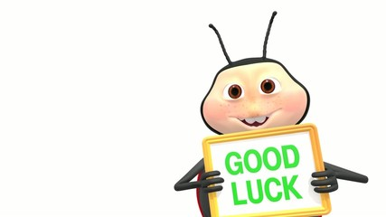 Ladybird holds good luck sign
