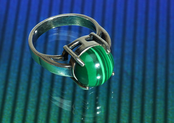 Silver ring with reflection