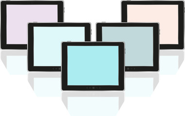 Set of digital tablets with colored screen isolated on white