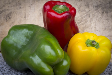 Red green and yellow pepper color image