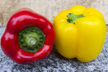 Red and yellow pepper color image