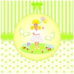 balon tutan sevimli kız