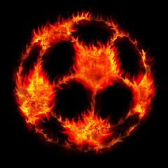 burning soccer football ball fire on black