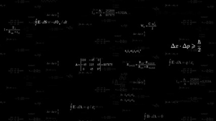 Scientific background with different mathematical formulas. Loop