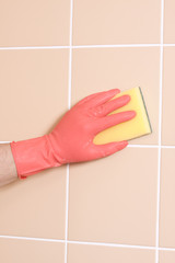 cleaning with gloves