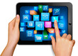 Hand holding touch pad and finger touching icon