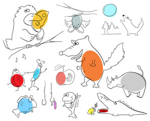 Vector crazy animals collection on a white background