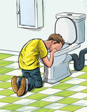 Cartoon teenager sick in toilet after drinking to much.