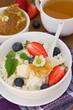 Dietary breakfast -cottage cheese, honey and fresh berry