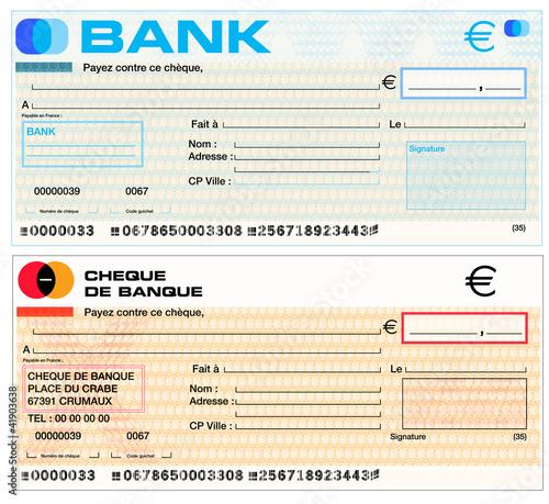 chèque de banque, chèque banquaire