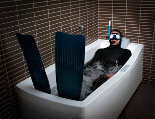 Bizarre dive immersion in bathtub