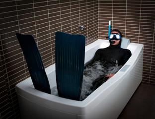 Bizarre dive immersion in bathtub