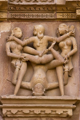 Erotic carvings at Khajuraho Temple, Madhya Pradesh, India