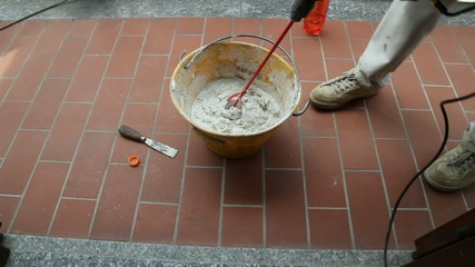 mixing glue or cement