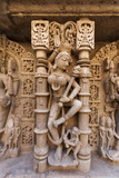 Statue at the Rani Ki Vav step well in Patan, Gujarat, India poster
