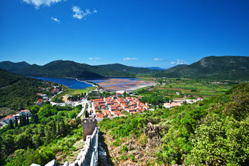 view of saltworks in Ston. Croatia.