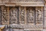 Statues at the Rani Ki Vav step well in Gujarat, India poster