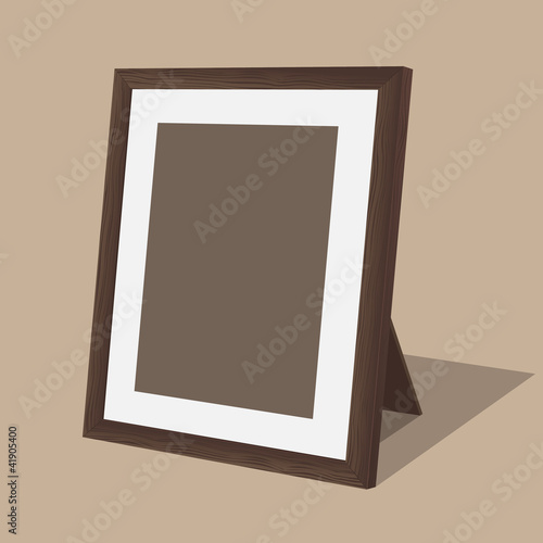 Wooden photo frame. Vector illustration.