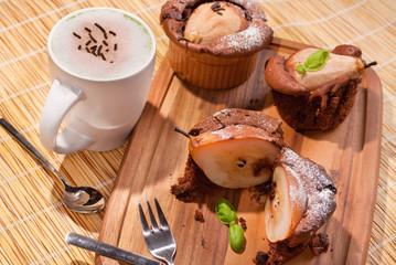Schoko Birnen Muffin Kaffee BIO