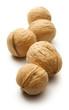 Heap of walnuts on white