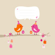 2 Birds Gifts Tree Speech Bubble Orange/Pink