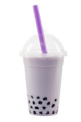 bubble tea lila mit exaktem Beschneidungspfad
