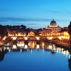 St. Peter's Basilica at night, Rome - Italy