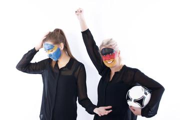 Football soccer fans winner vs loser